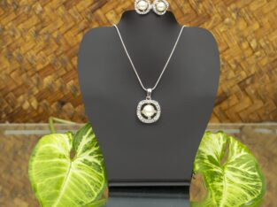 Pearl Embedded Golden Necklace and Earring Set