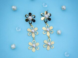 Golden Flower Earrings with Pearl along with a pai