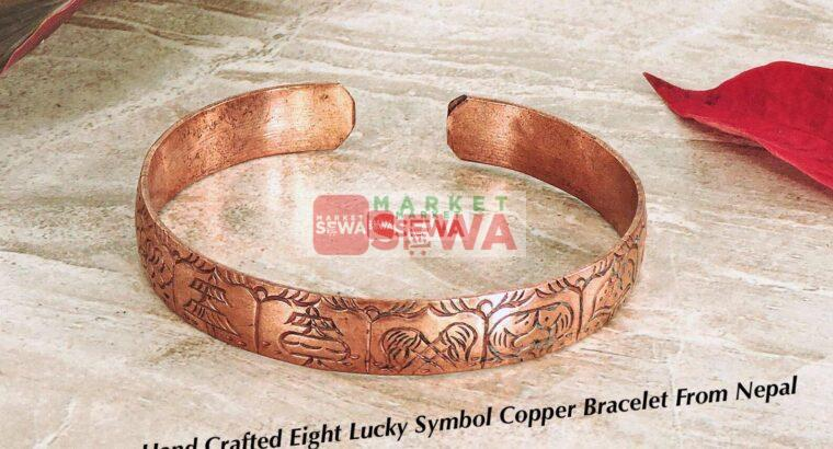 Tibetan Hand Crafted Eight Lucky Symbol Copper Bracelet From Nepal